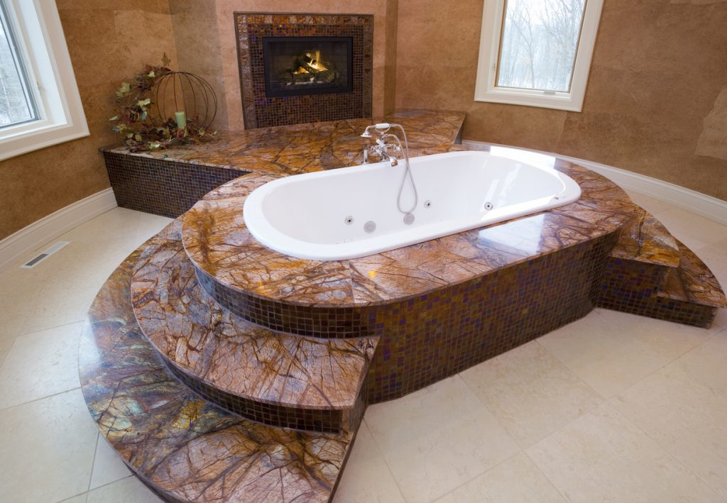 Spacious Marble Master Bathroom Whirlpool Tub With Fireplace